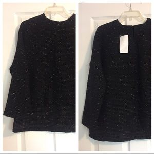 Zara gold & black high-low woven sweater
